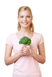 Attractive woman holding broccoli, isolated