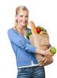 Young pretty woman with a paper bag full of healthy food