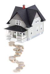 Real estate concept - coins in front of house