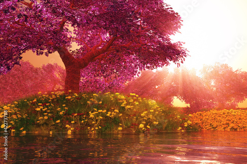Mysterious Cherry Blossom Trees Japanese Garden 3D render