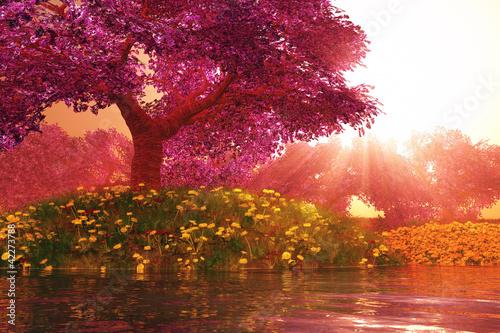Obraz na Plexi Mysterious Cherry Blossom Trees Japanese Garden 3D render