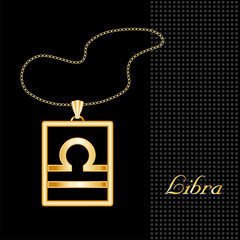 Libra Necklace and Chain, gold silhouette astrology symbol