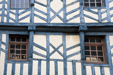 wall of medieval timber framing house