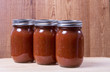 Three jars of homemade tomato sauce