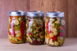 Preserved mixed vegetables in mason jar