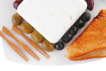 feta and olives with toast