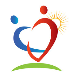 Hearts figures sun and beam logo