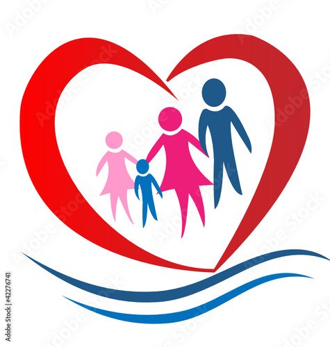 Family heart logo vector