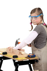 schoolgirl disguised as carpenter