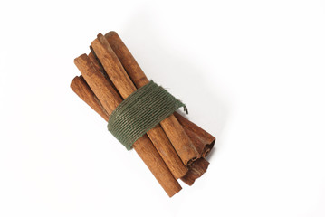 spice, cinnamon sticks, isolated white background