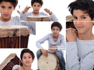 Montage of young boy with African drum