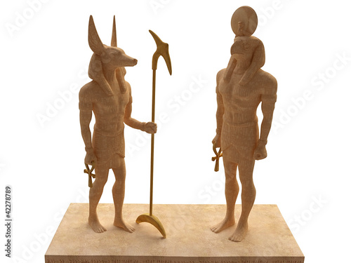 3D Statuettes of Egyptian Gods Anubis and Horus