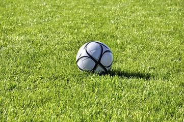Football ball on a green grass