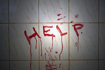 Help bloody inscription in the bathroom