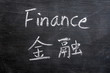 Finance - word written on a smudged blackboard