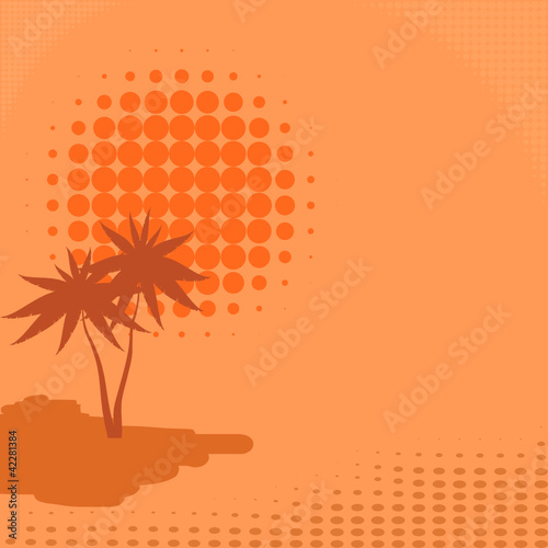 Vector background with palm trees and sun