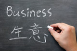 Business- word written on a smudged blackboard poster