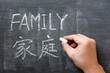 Family - word written on a blackboard