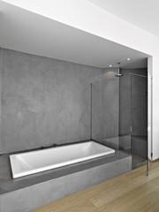 vasca e doccia in  bagno moderno
