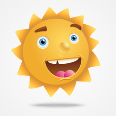 Smiling cartoon  sun characters
