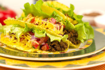 Beef Tacos - Mexican minced beef hard-shell tacos.