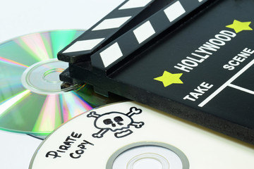 Pirate Copy written on a dvd next to a clapper board