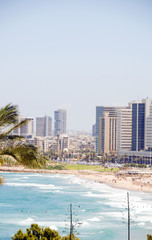 skyline Tel Aviv Israel beach with high rise hotels offices Asia