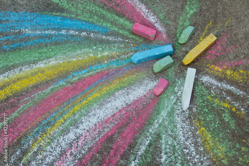 Naklejka na meble Crayons for drawing on the pavement