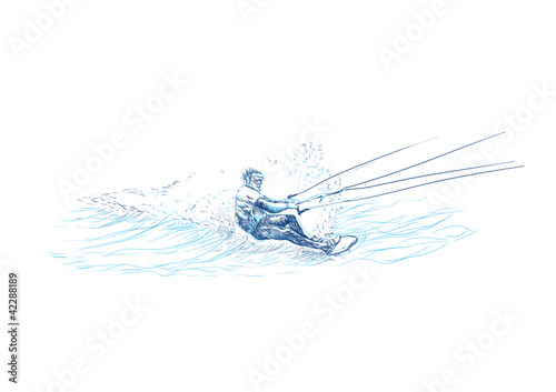 water skiing (this is original sketch) - 42288189
