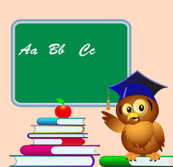 owl points to school board on pile of the books apple