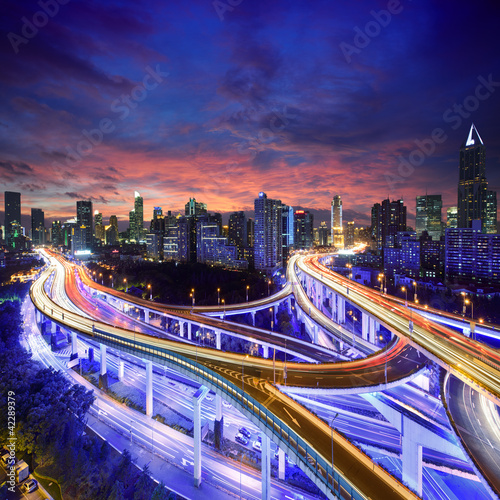 Shanghai highway view at sunset - 42289379