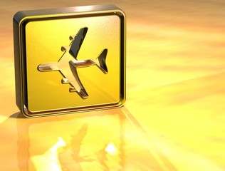 3D Airport Gold Sign