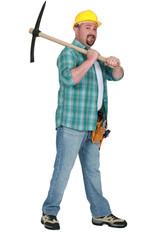 Man wielding pick-ax