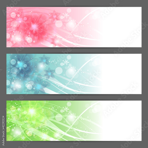 Vector floral illustration background. Horizontal banner.