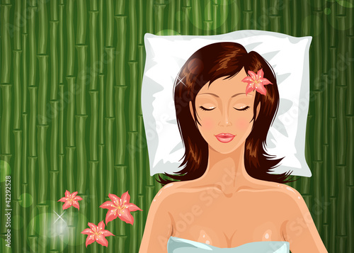 Girl during her spa session. Vector illustration.