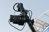 Detail of a camera on crane during while broadcasting