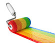 Multicolored paint roller. 3D Icon isolated on white