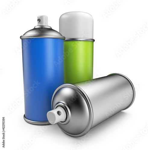 Three spray can. 3D icon isolated on white background