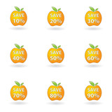 orange apple simple save set percent