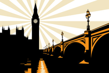 Art Deco Big Ben London Illustration