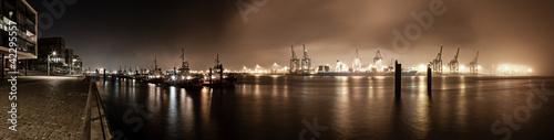 Foto Spatwand Poort Hafenpanorama Hamburg bei Nacht