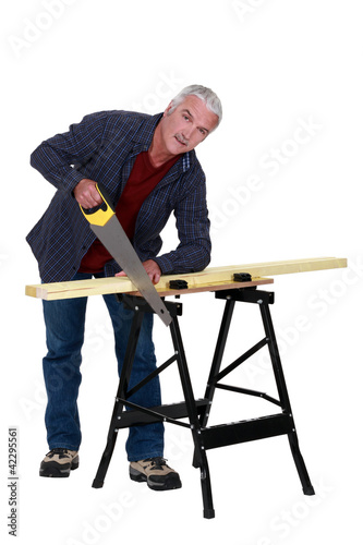 Carpenter at a workbench