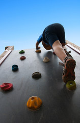child climbs up