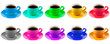 color cups of coffee