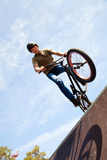 BMX bicycler on  ramp