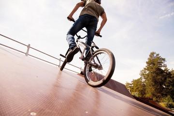 BMX bicycler on  ramp