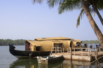 A houseboat  on the backwaters of Kerala, India