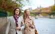 Romantic couple in Paris at fall, having a date