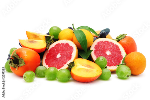 set fruit isolated on white