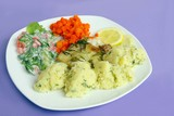 baked fish with potato purre and vegetable poster